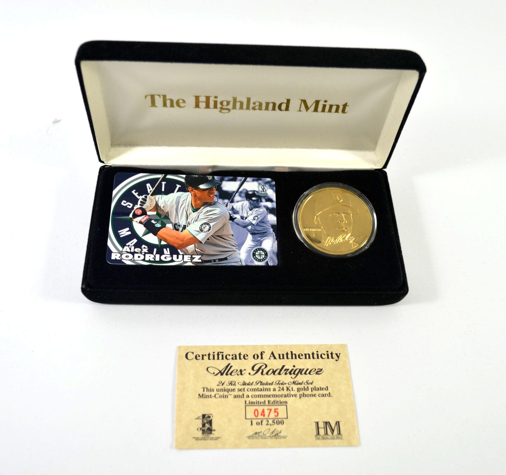 Highland Mint Alex Rodriguez Tele-Mint Set Gold Coin & Phone Card ...