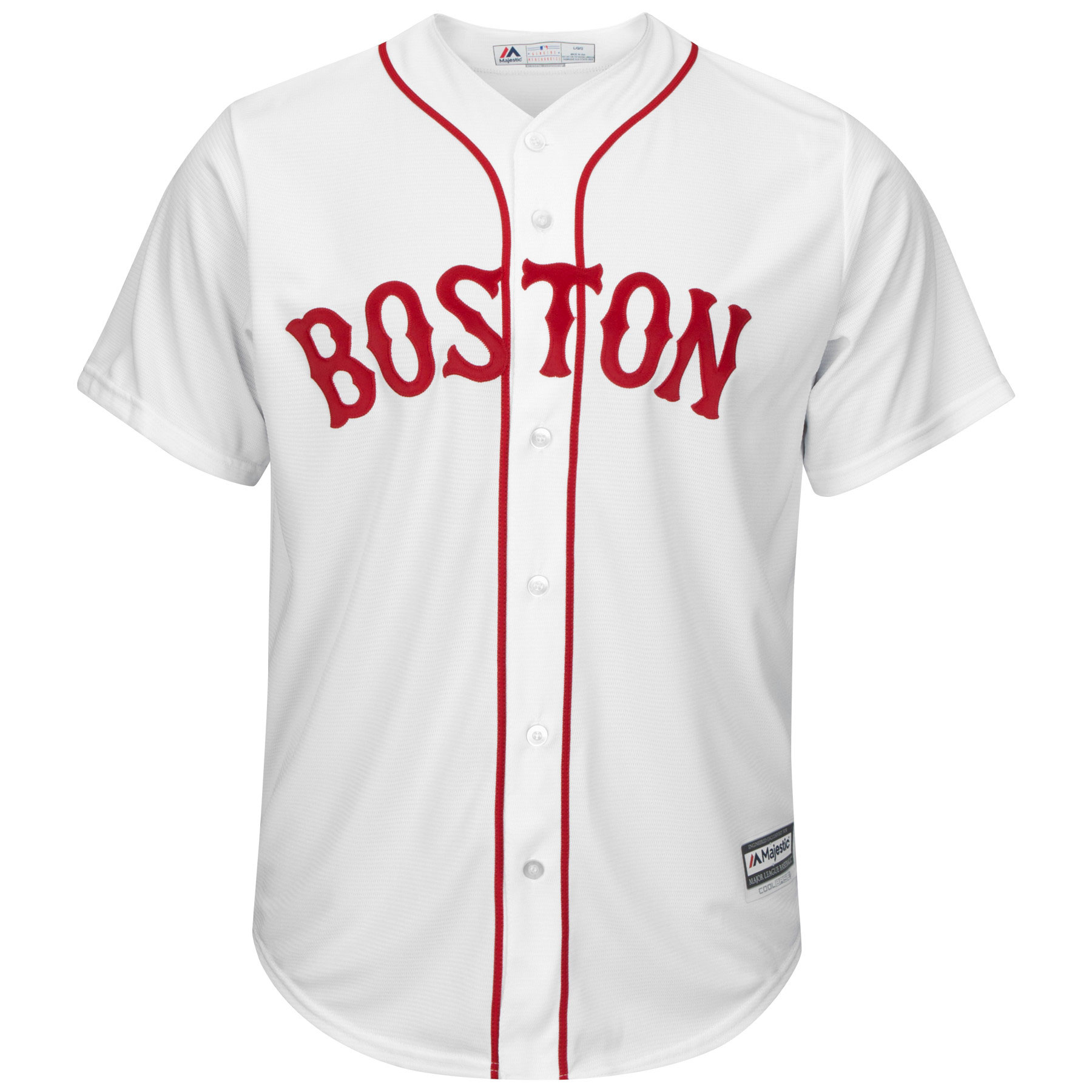 Details about Boston Red Sox Mens MLB Majestic Cool Base Button Up White  Jersey Size  40 Small dd668dd8e
