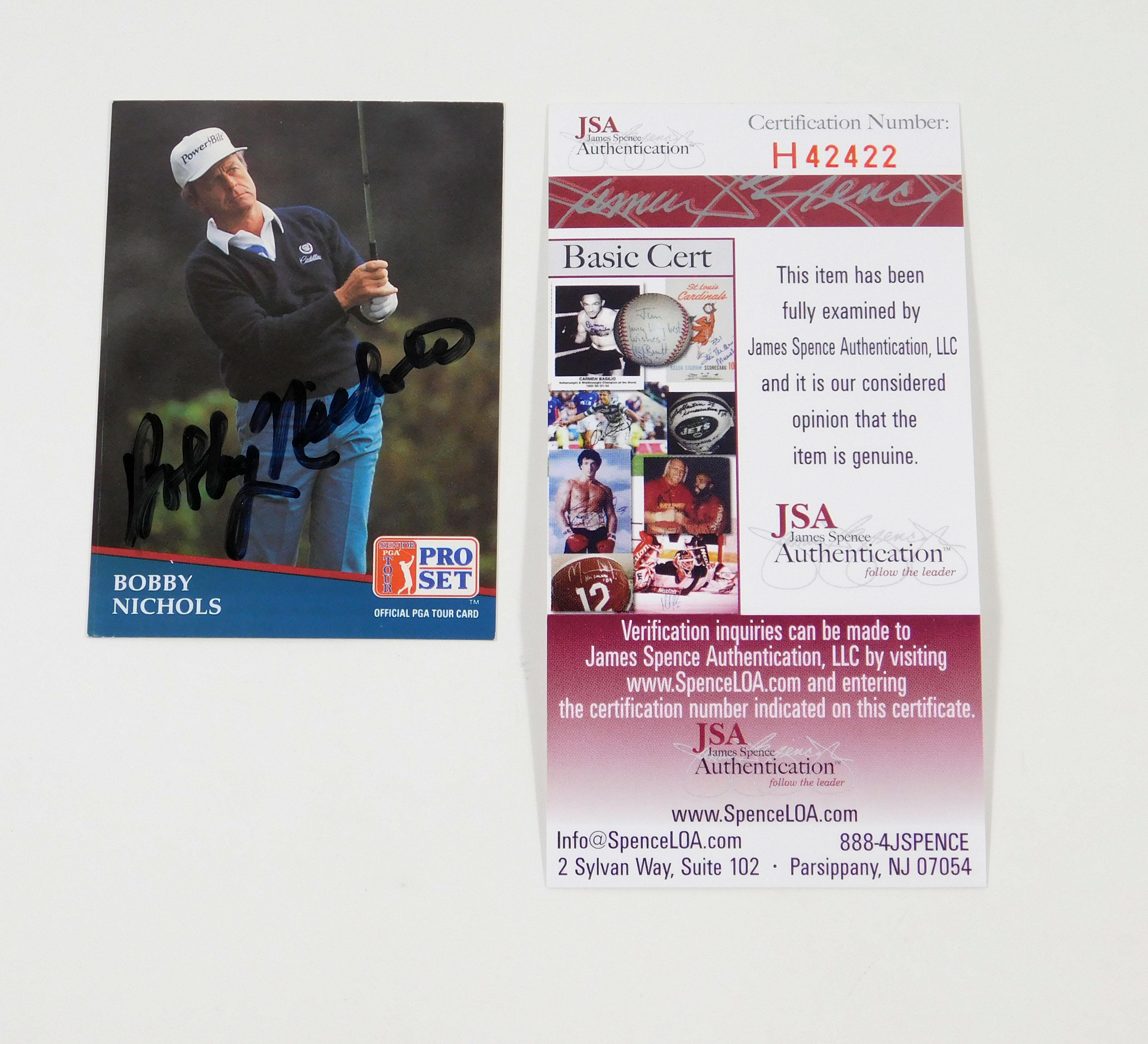 1990 Pro Set Bobby Nichols Signed Pga Golf Card Jsa Auto Ebay