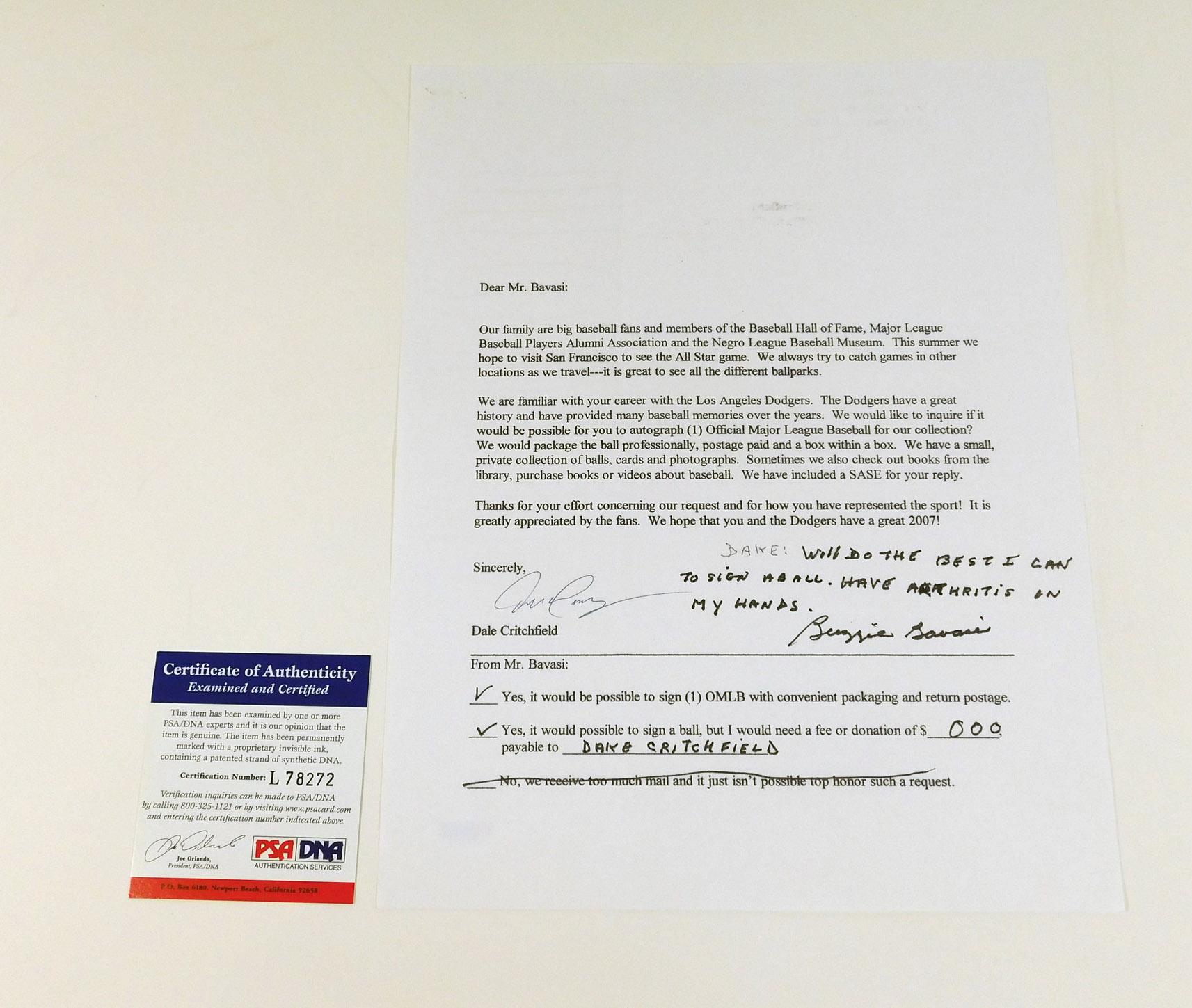 Buzzie Bavasi Signed Autograph Letter Request Dodgers Psa Dna Auto