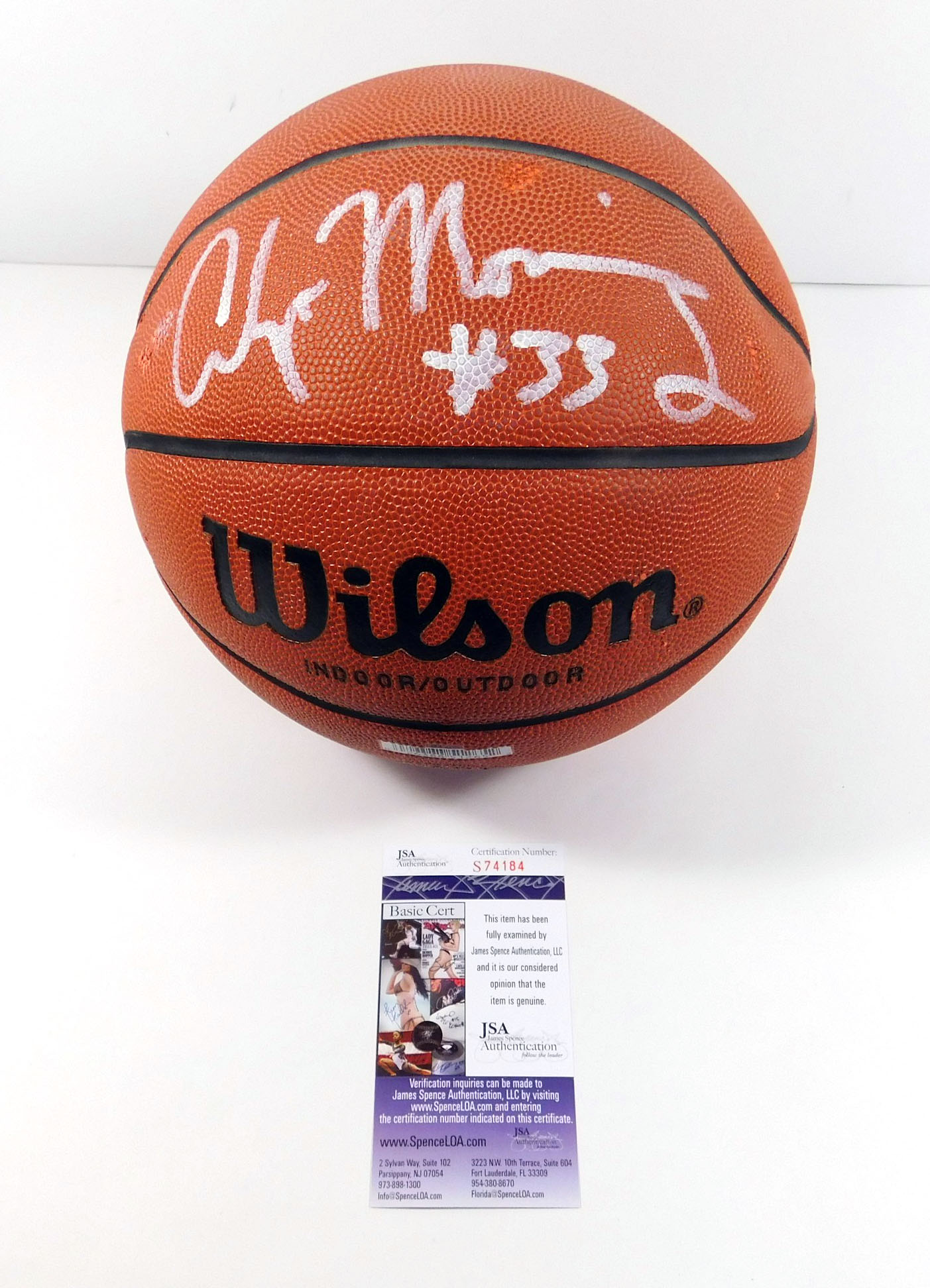 Alonzo Mourning Signed Wilson Basketball Jsa Coa Auto Ebay