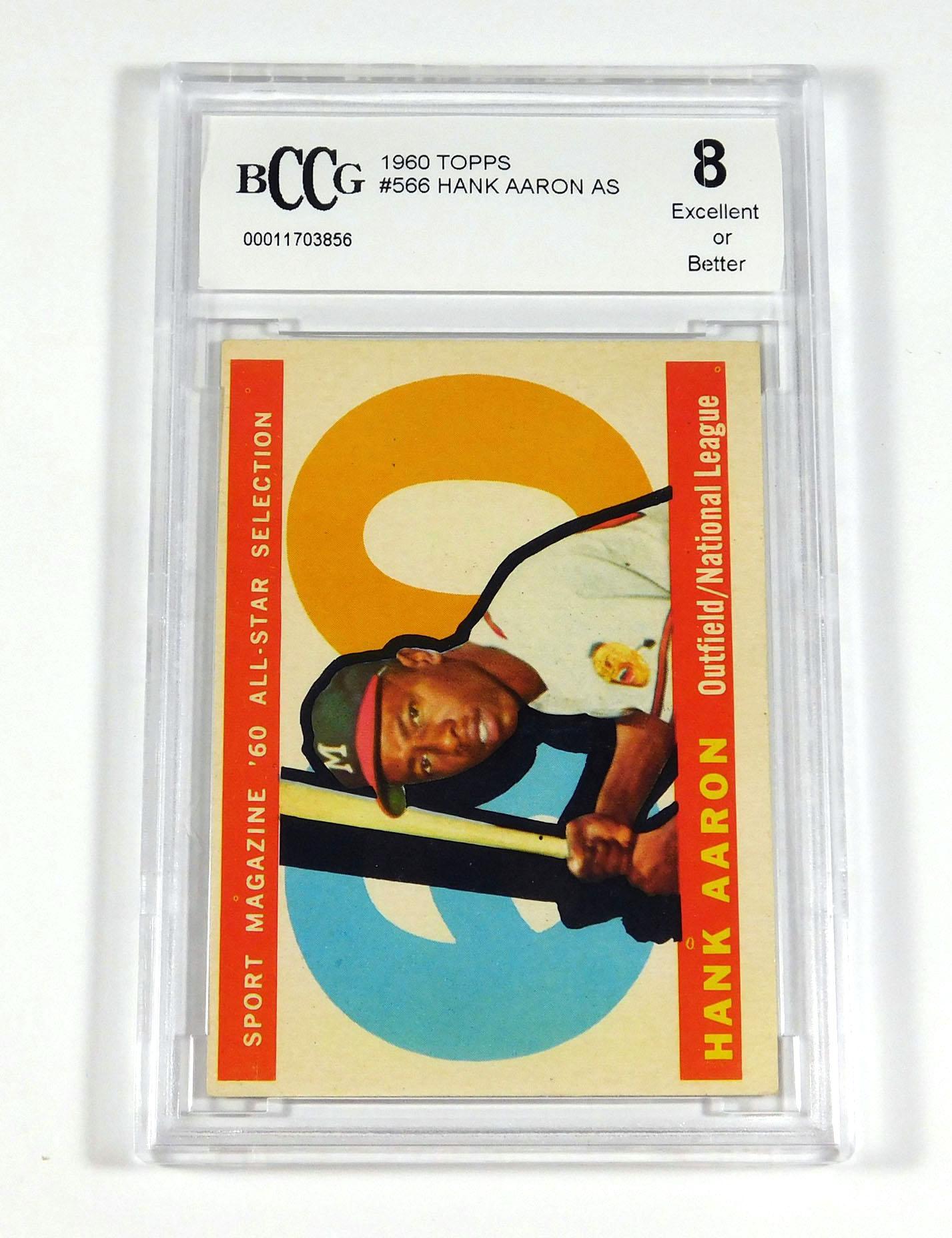 1975 topps #1 HANK AARON HL atlanta braves BGS BCCG 8 Graded Card