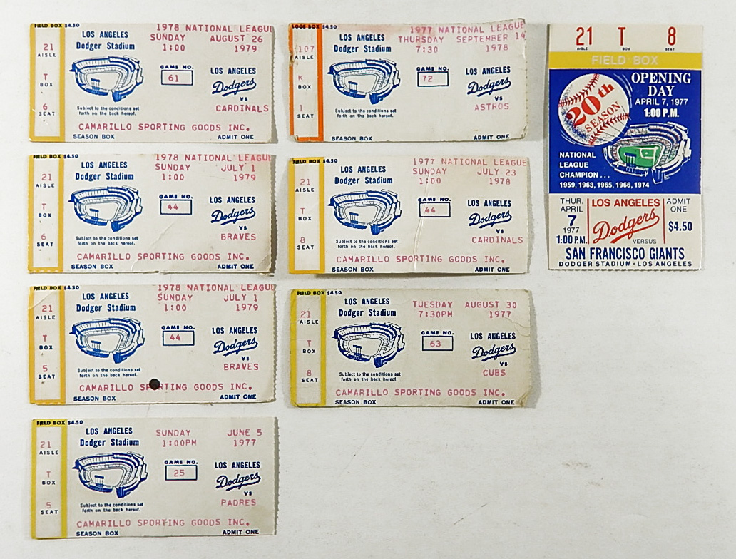 Lot of 8 Vintage 1977 1979 Los Angeles Dodgers Ticket