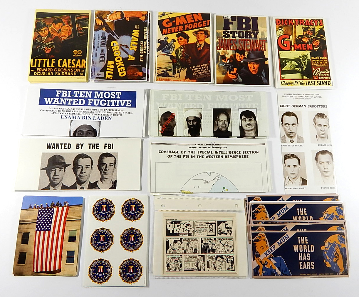 Lot of FBI G-Men Reproduction Collectibles ^ Postcards Stickers