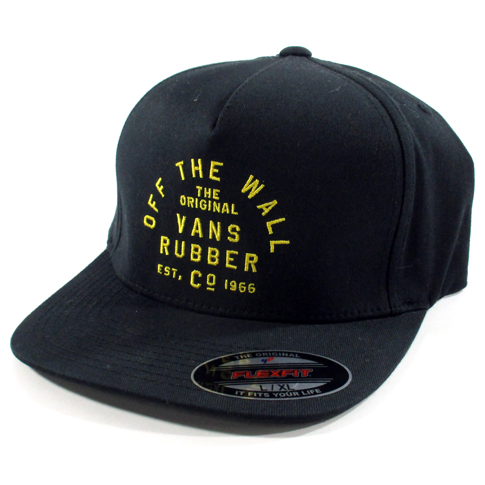 7bc4d1f480c Vans Off The Wall Stacked Rubber Fitted Flexfit Hat L XL (Black) Skate Cap  NWT