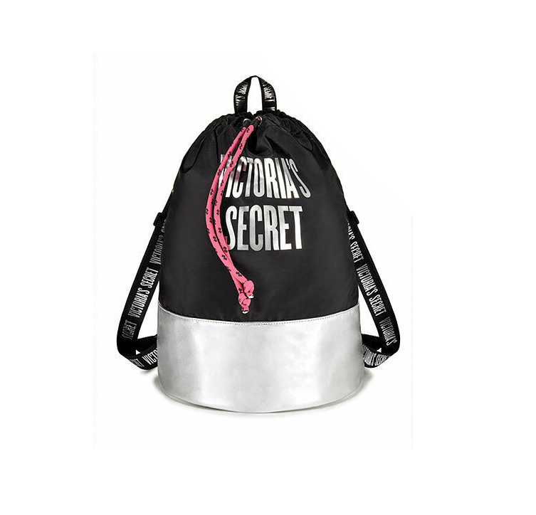 VICTORIAS SECRET PINK NWT GRAPHIC LOGO DRAWSTRING BAG BACKPACK TOTE SILVER