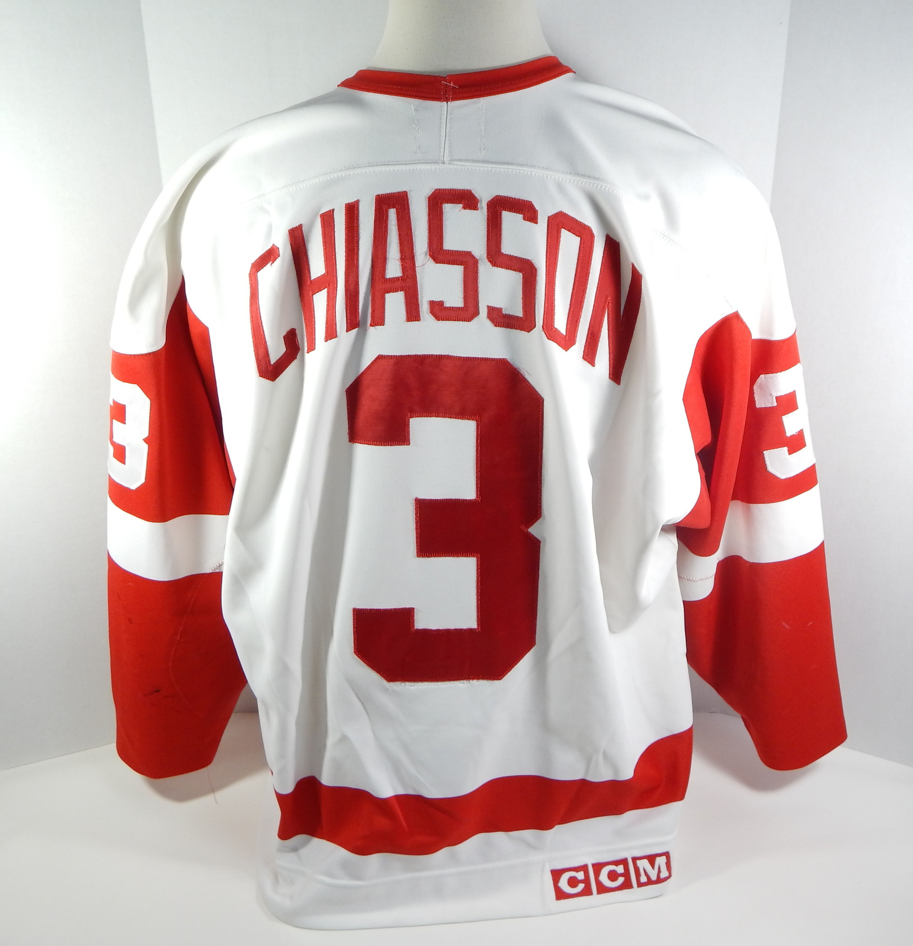 e43c2a5e4 Details about 1993-94 Detroit Red Wings Steve Chaisson  3 Game Used White  Jersey