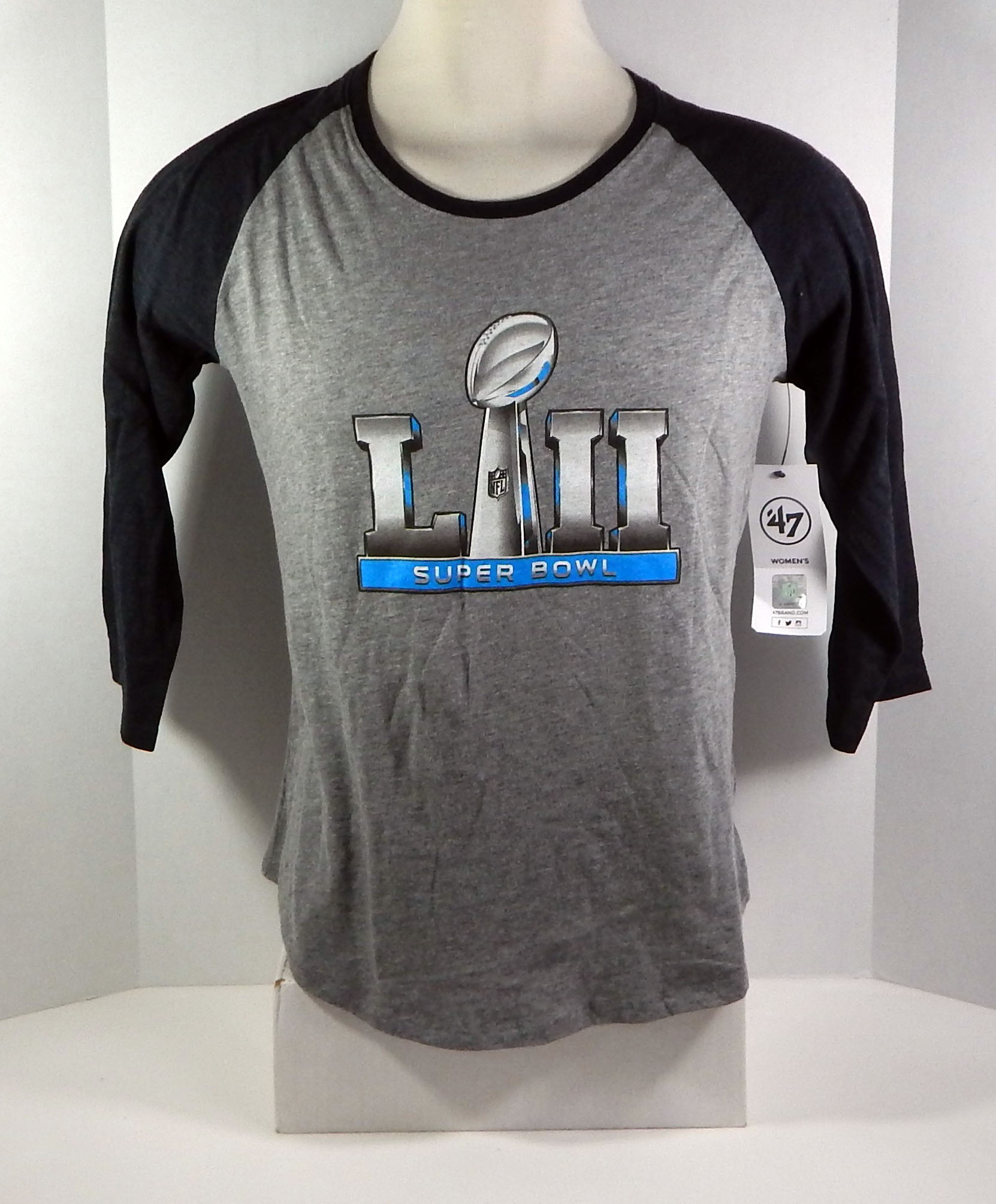 05002503 Super Bowl LII Philadelphia Eagles Women's 47 Brand Grey & Black T ...