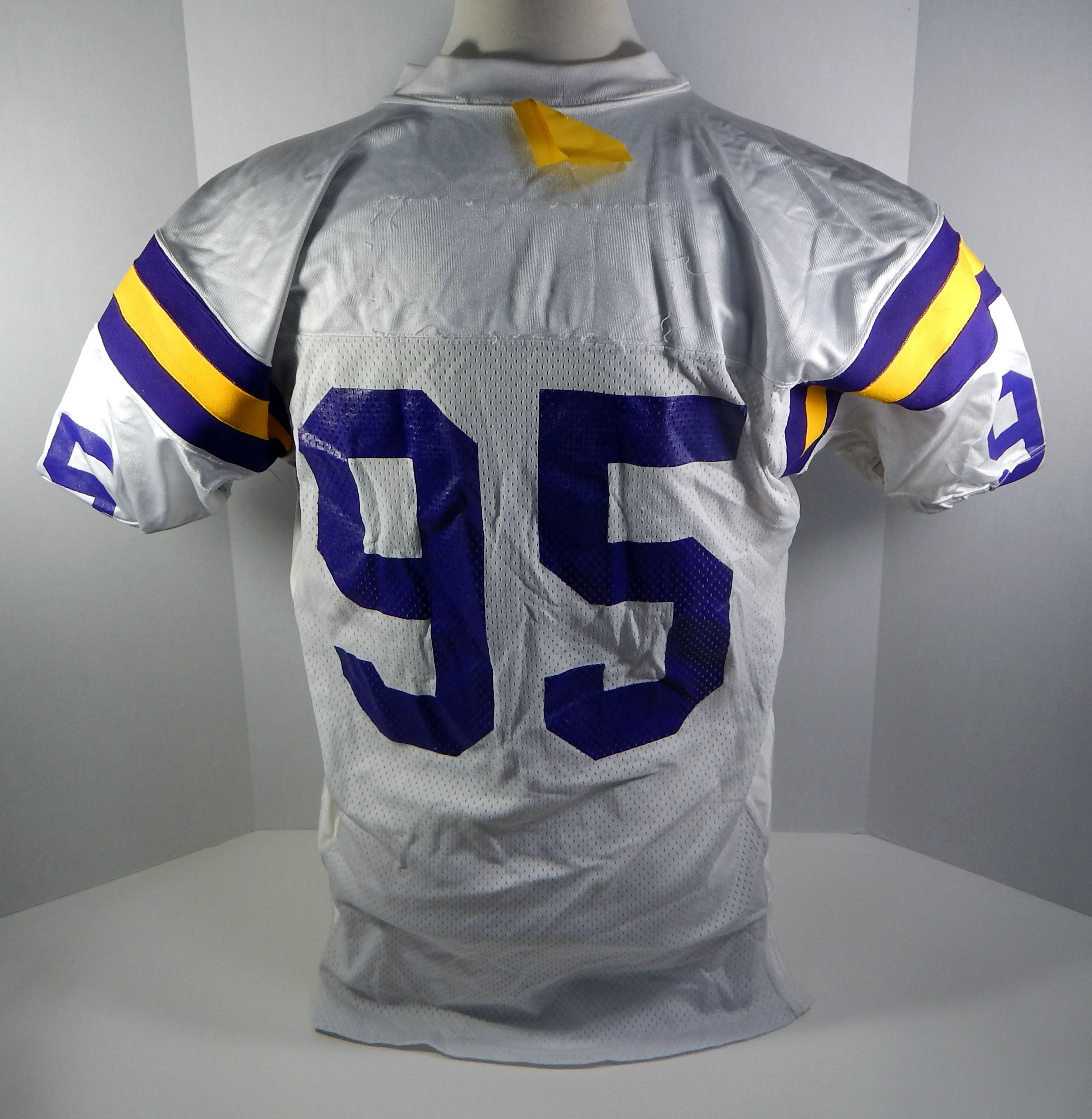 info for a7e73 fc58a Details about Minnesota Vikings #95 Game Issued White Jersey VIKSNC00324