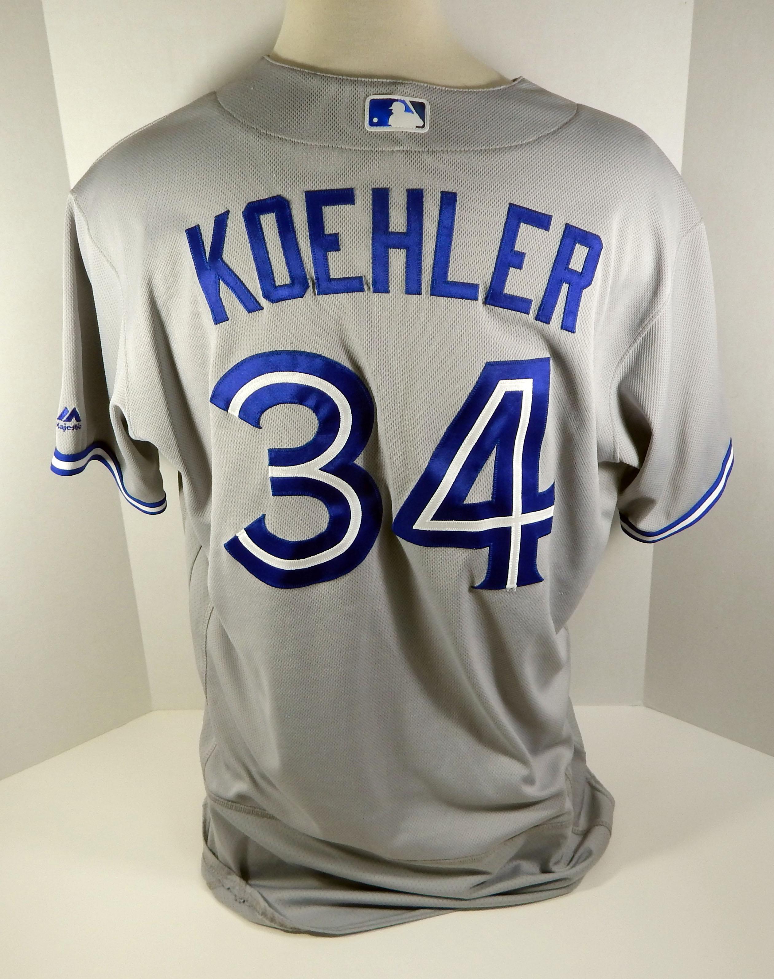 reputable site 7e904 4baa9 2017 Toronto Blue Jays Tom Koehler #34 Game Used Grey Jersey ...