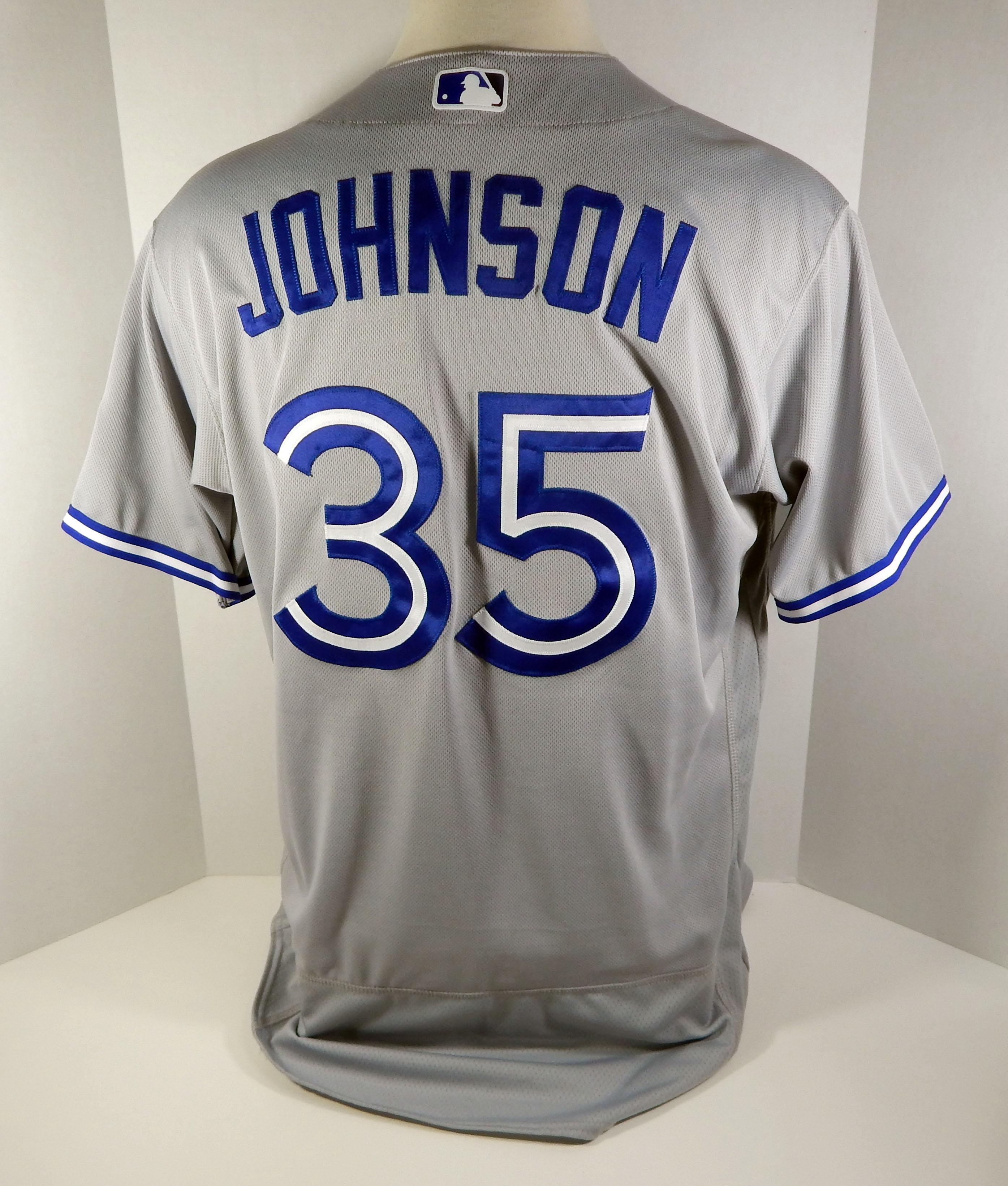 26a6f58a8 2018 Toronto Blue Jays Dane Johnson  35 Game Used Grey Jersey 32 Patch