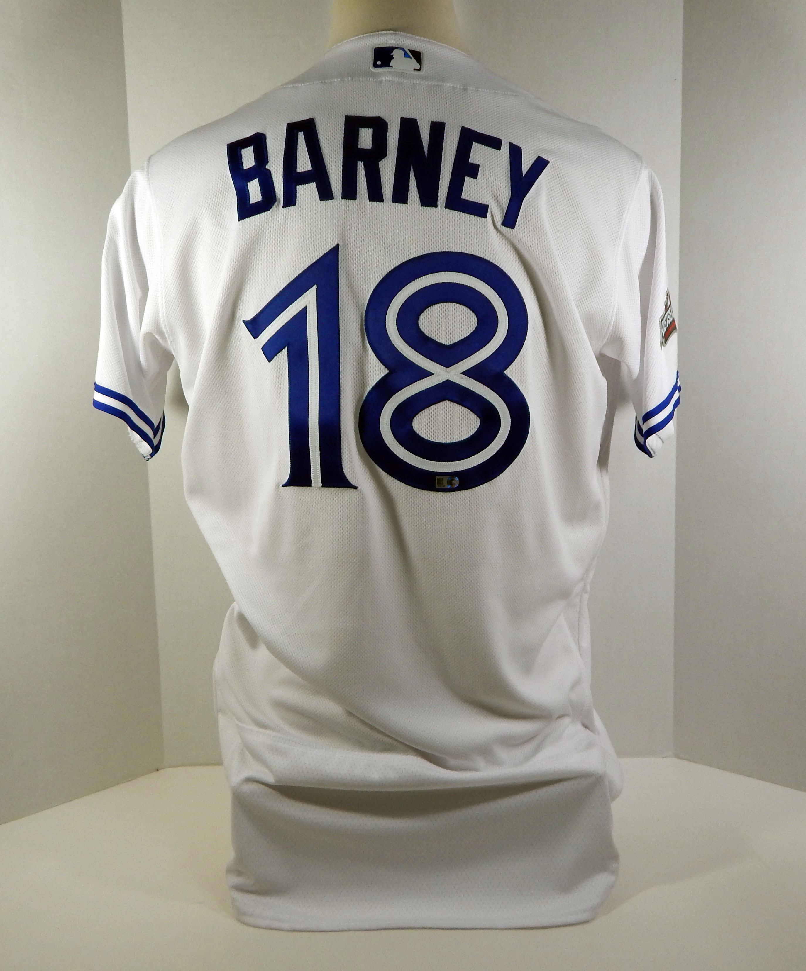62dcc1532 2016 Toronto Blue Jays Darwin Barney  18 Game Issued White Jersey Playoff  Patch
