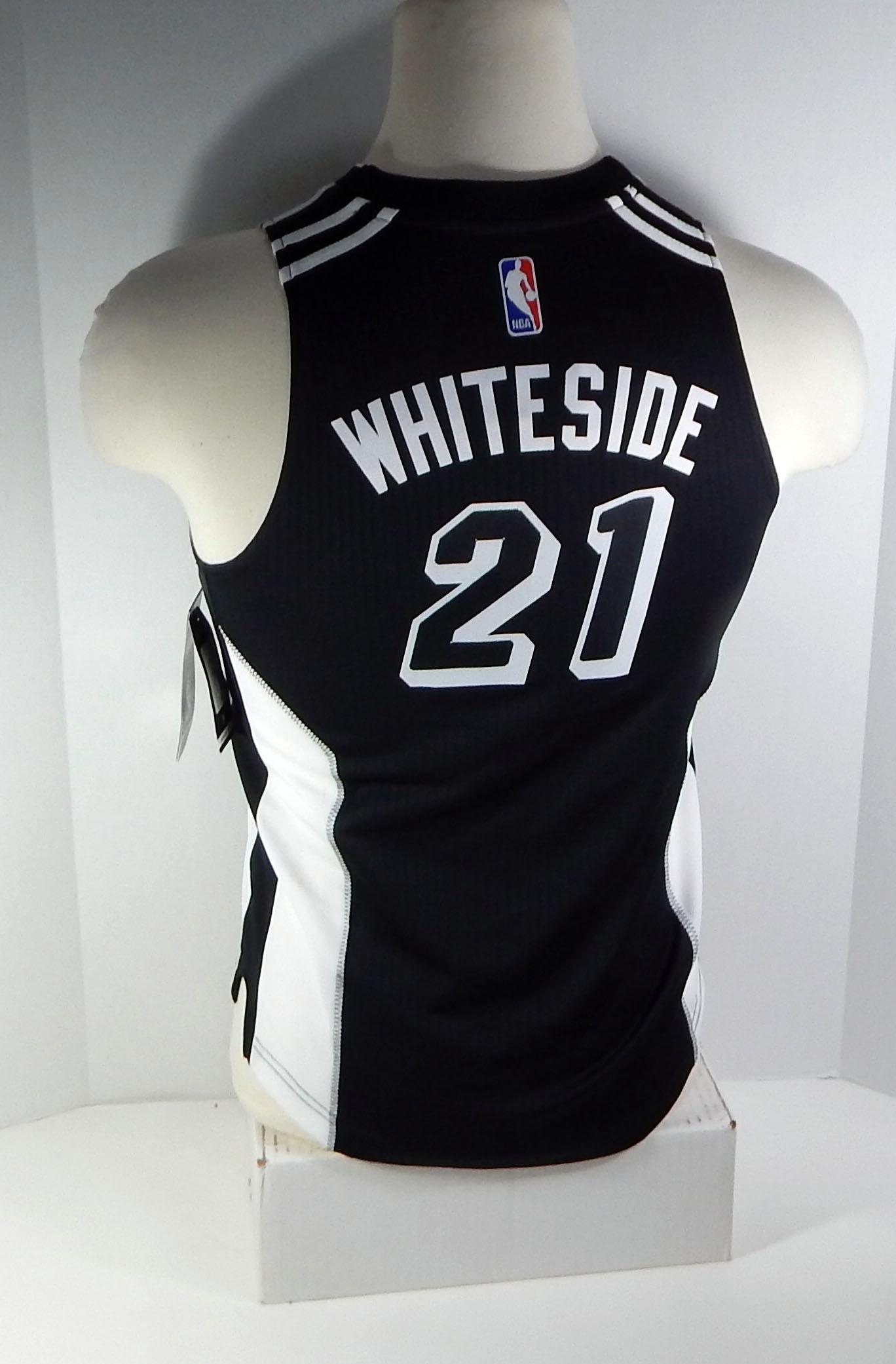 save off 865f6 d95e3 Miami Heat Hassan Whiteside #21 Replica Black Tie Swingman ...