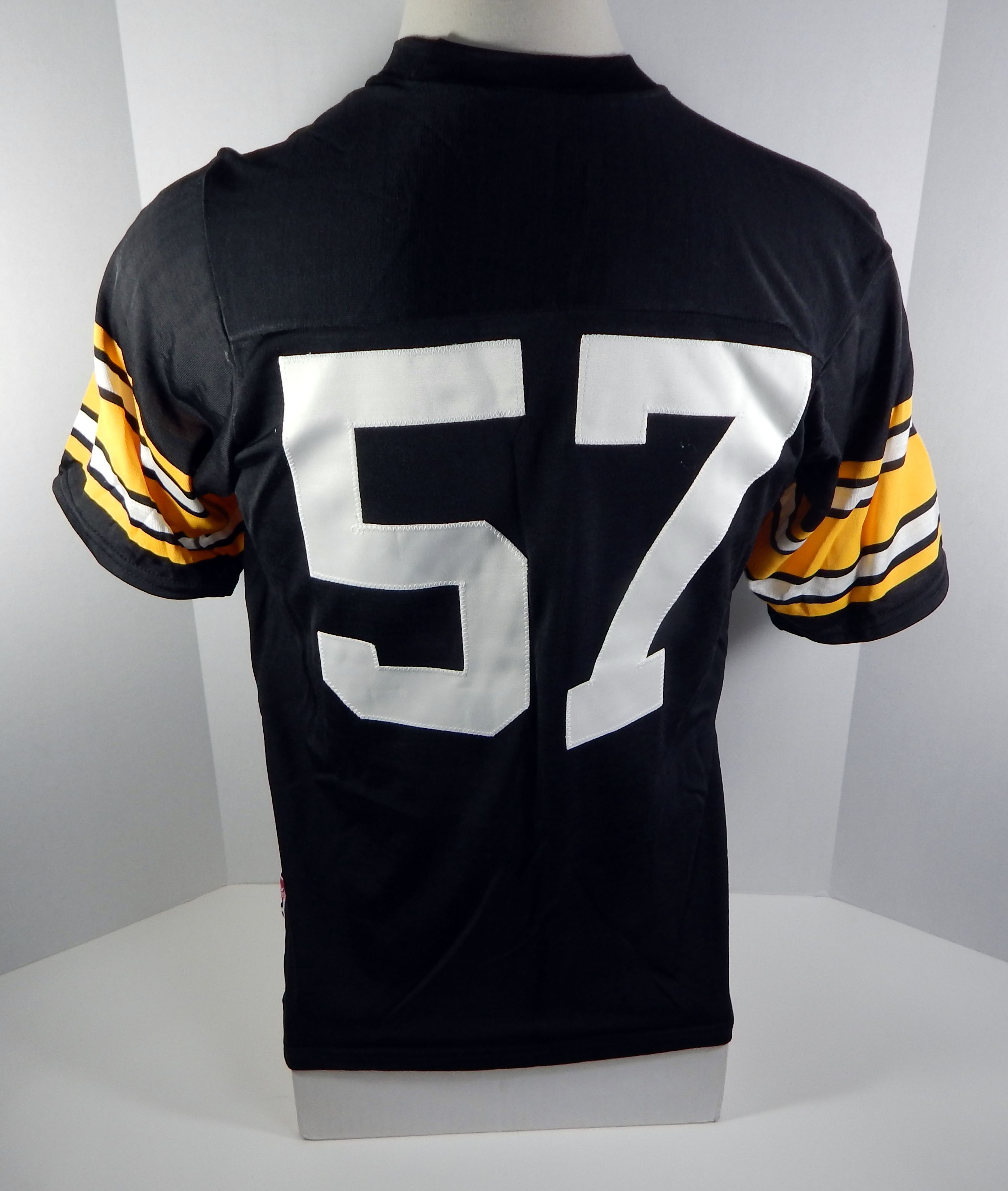 75db5a94f63 Details about Vintage Pittsburgh Steelers  57 Black Sand Knit Replica Jersey