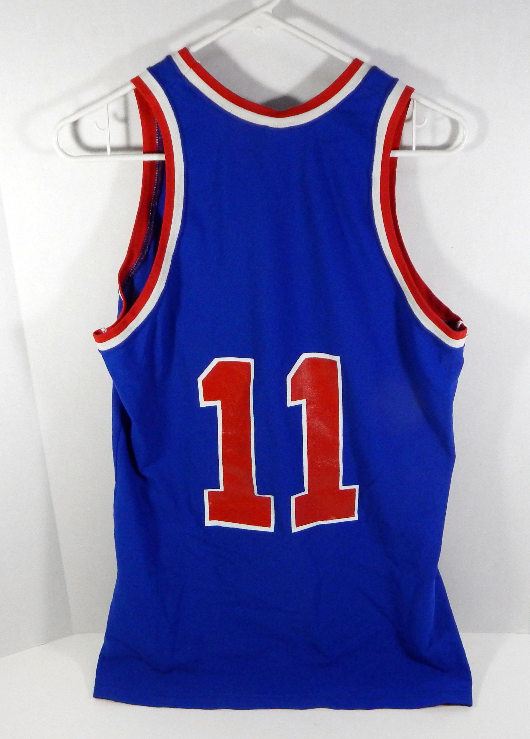 best service 85454 d9828 Details about Vintage Detroit Pistons Isaiah Thomas #11 Replica Blue Sand  Knit Jersey