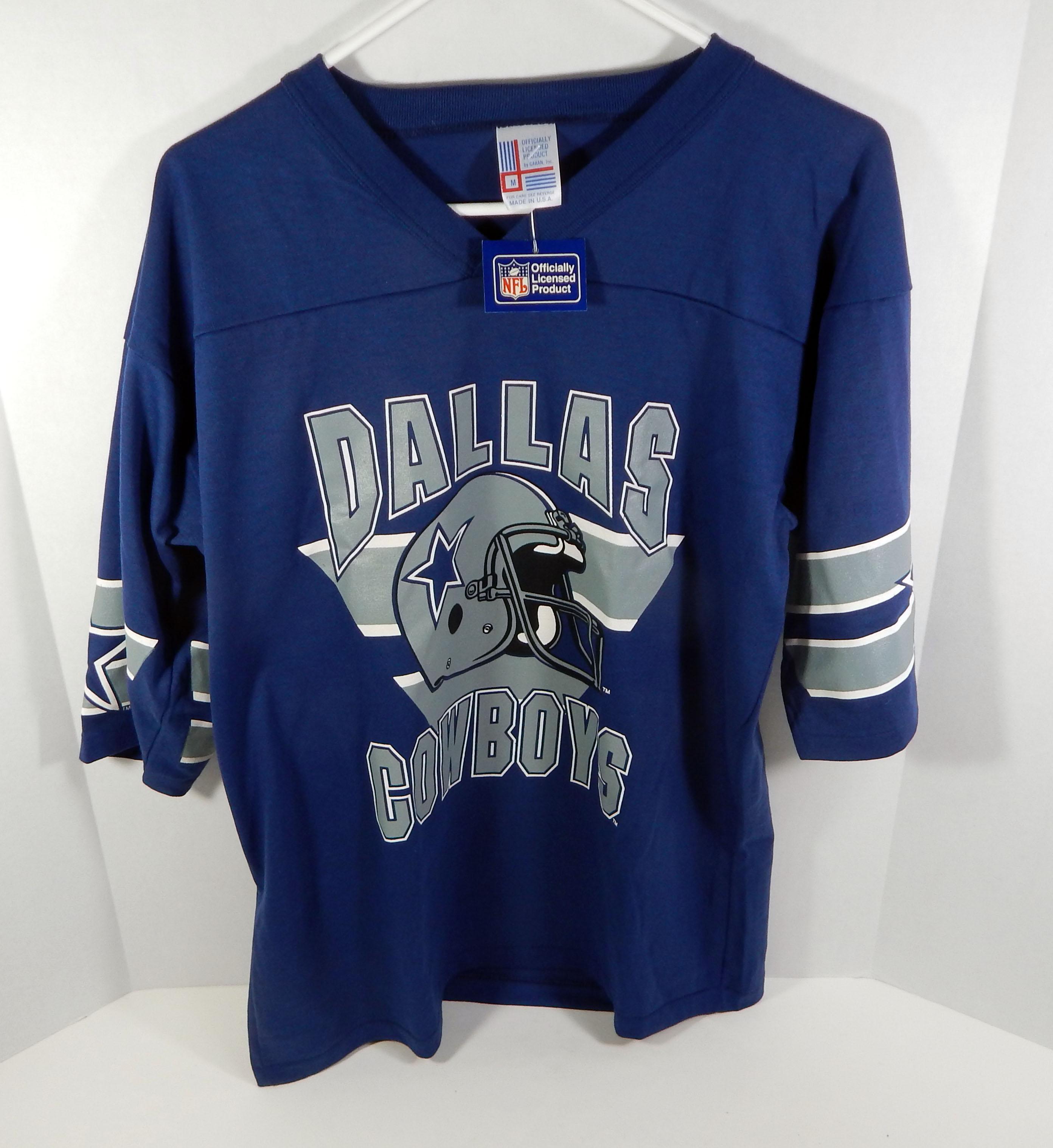 Vintage 1980 s Dallas Cowboys Blue Garan Jersey T Shirt Size  M NWT ... fd2fc7035
