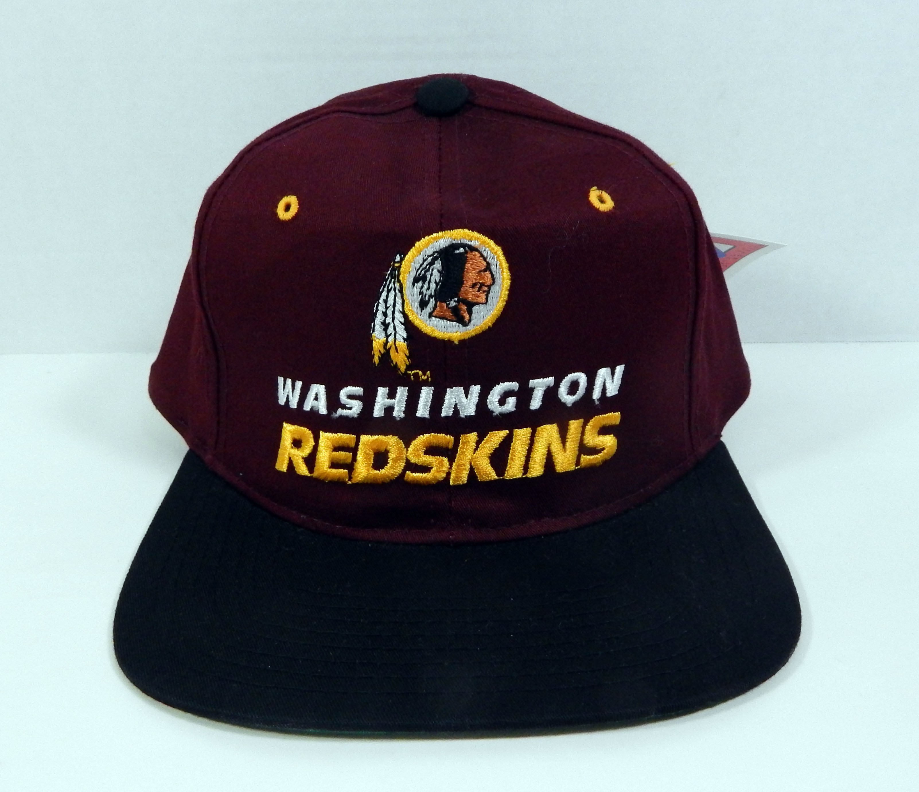 3b7b86a32 Details about Vintage Washington Redskins Black Logo Script Snapback Hat  New Era NWT