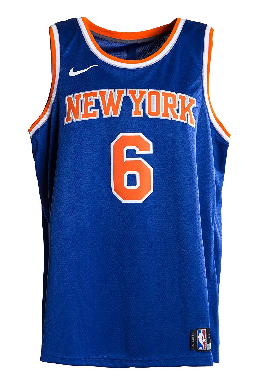 low priced 0f887 d36aa Details about Mens New York Knicks Kristaps Porzingis #6 Blue Jersey  Swingman Large Nike