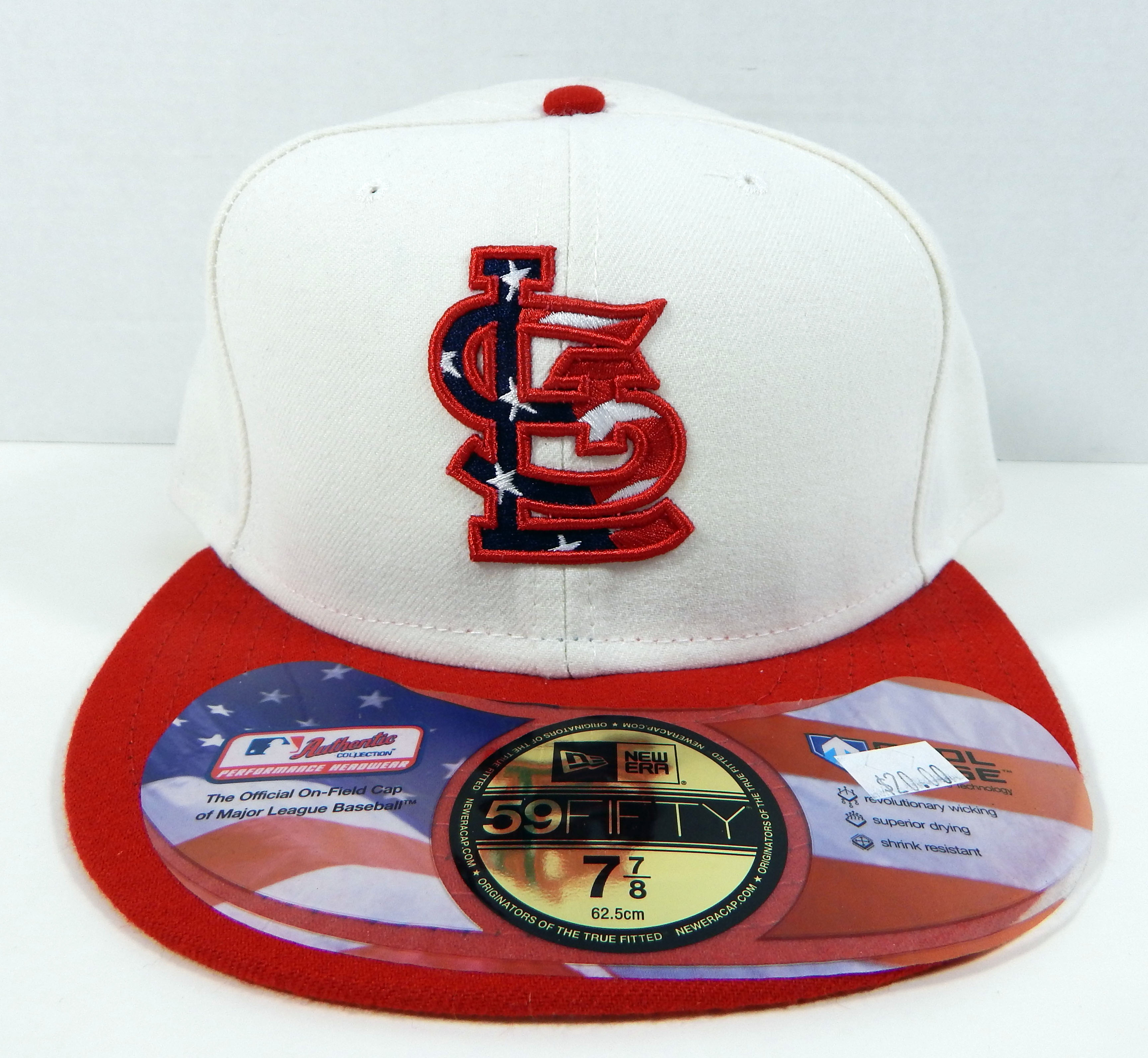 reputable site d58f2 b6077 St. Louis Cardinals Game Iss New Era Red White 4th July Stars Stripe  59FIFTY Hat