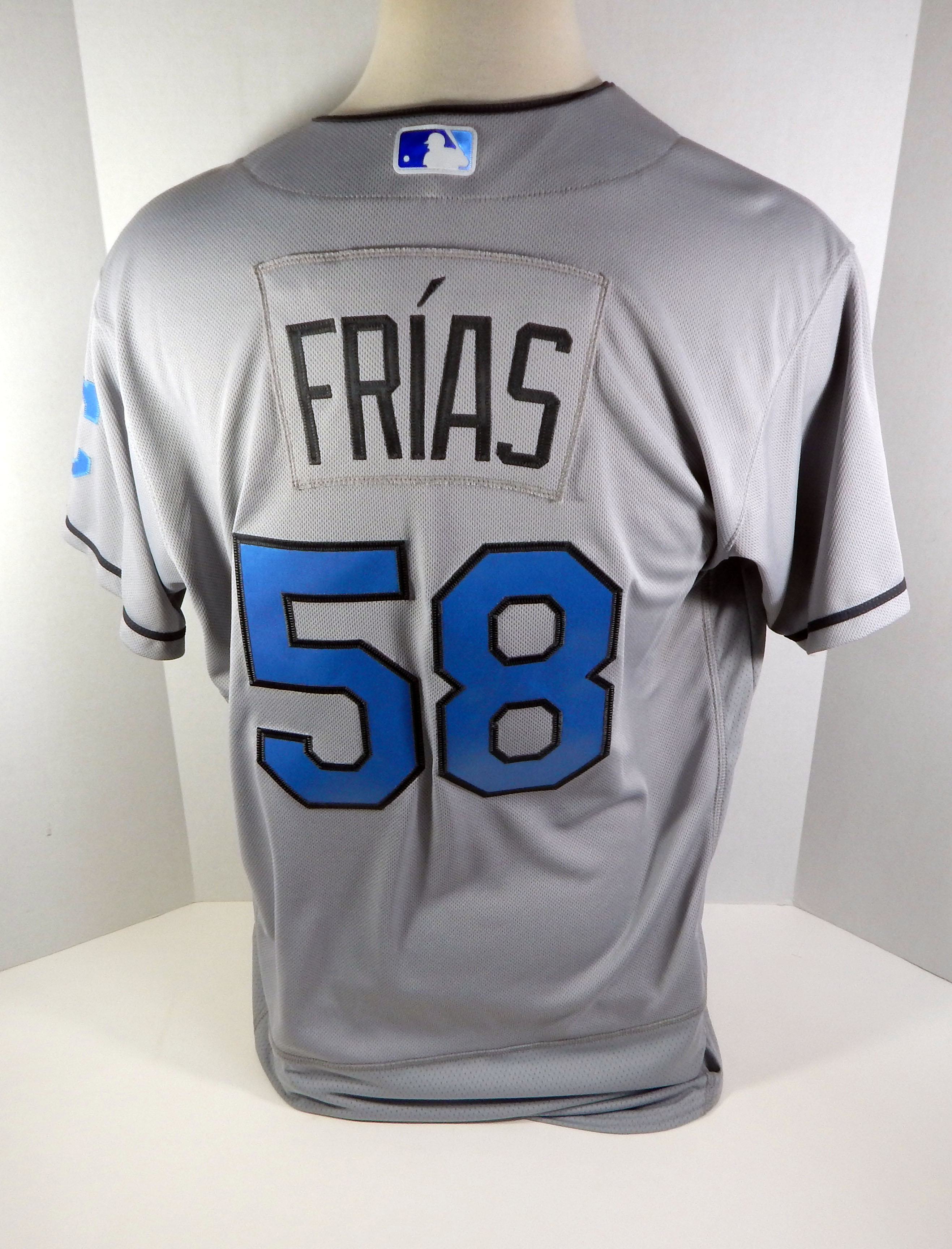uk availability a952c af0c3 Details about 2017 Cleveland Indians Carlos Frias #58 Game Issued Grey  Father's Day Jersey