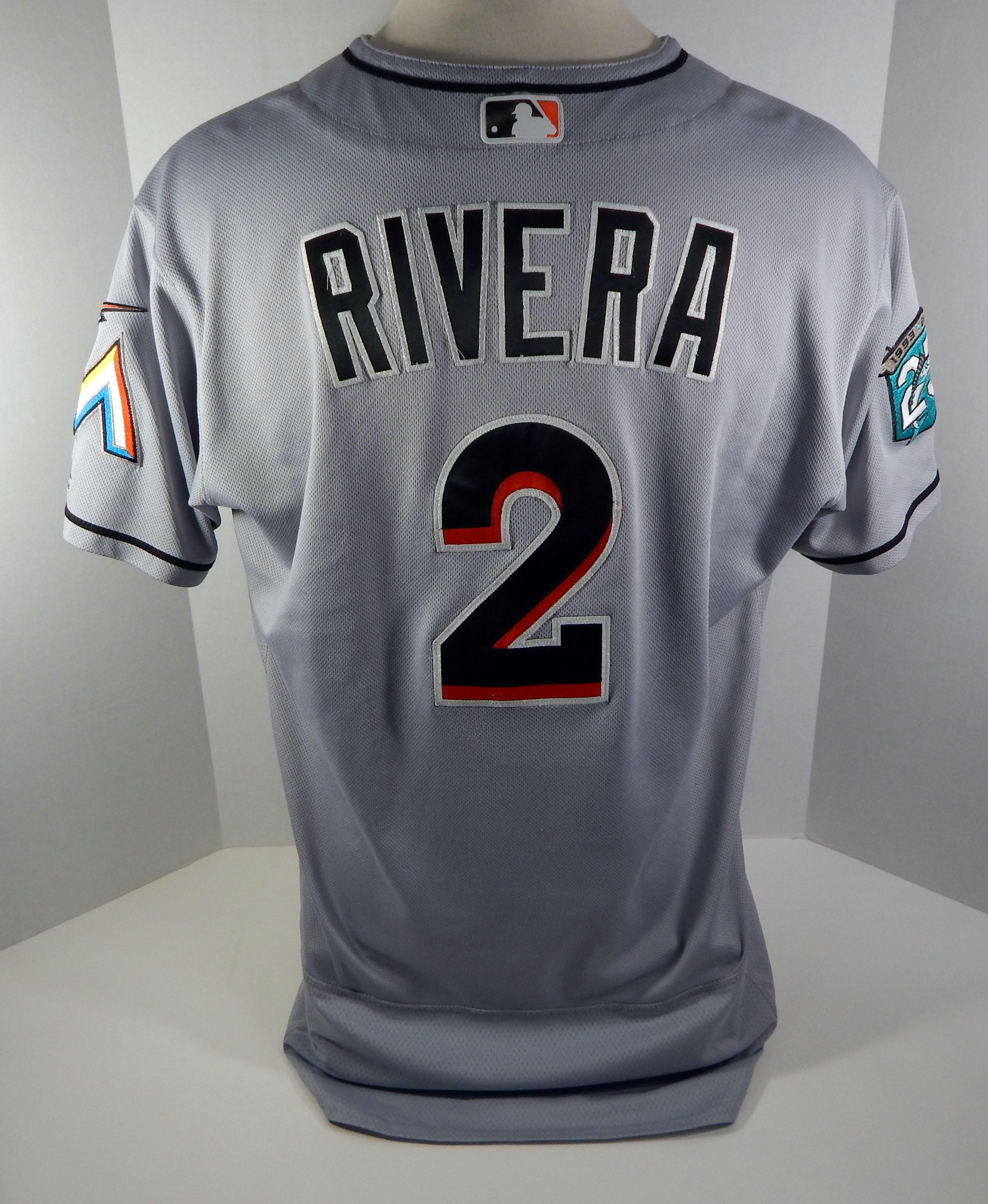 65829a129 2018 Miami Marlins Yadiel Rivera #2 Game Used Grey Jersey 25th Patch ...