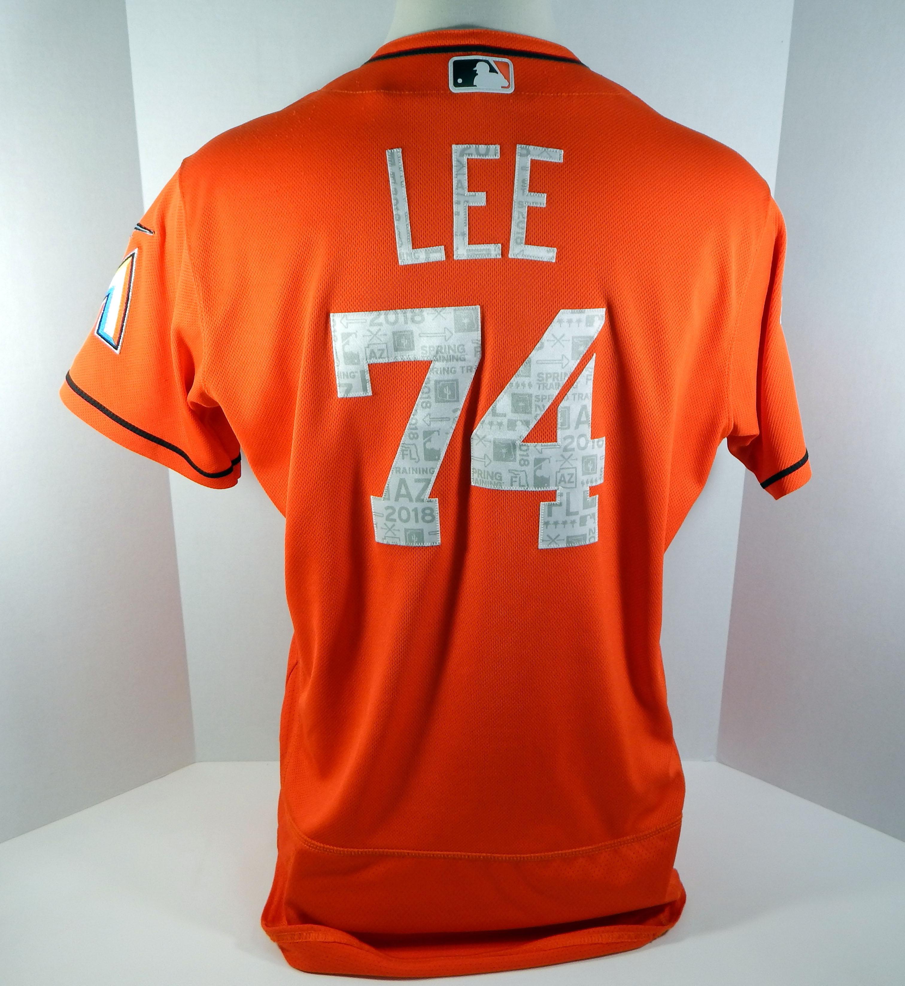size 40 d968c 3e9e4 2018 Miami Marlins Braxton Lee #74 Game Used Orange Spring ...
