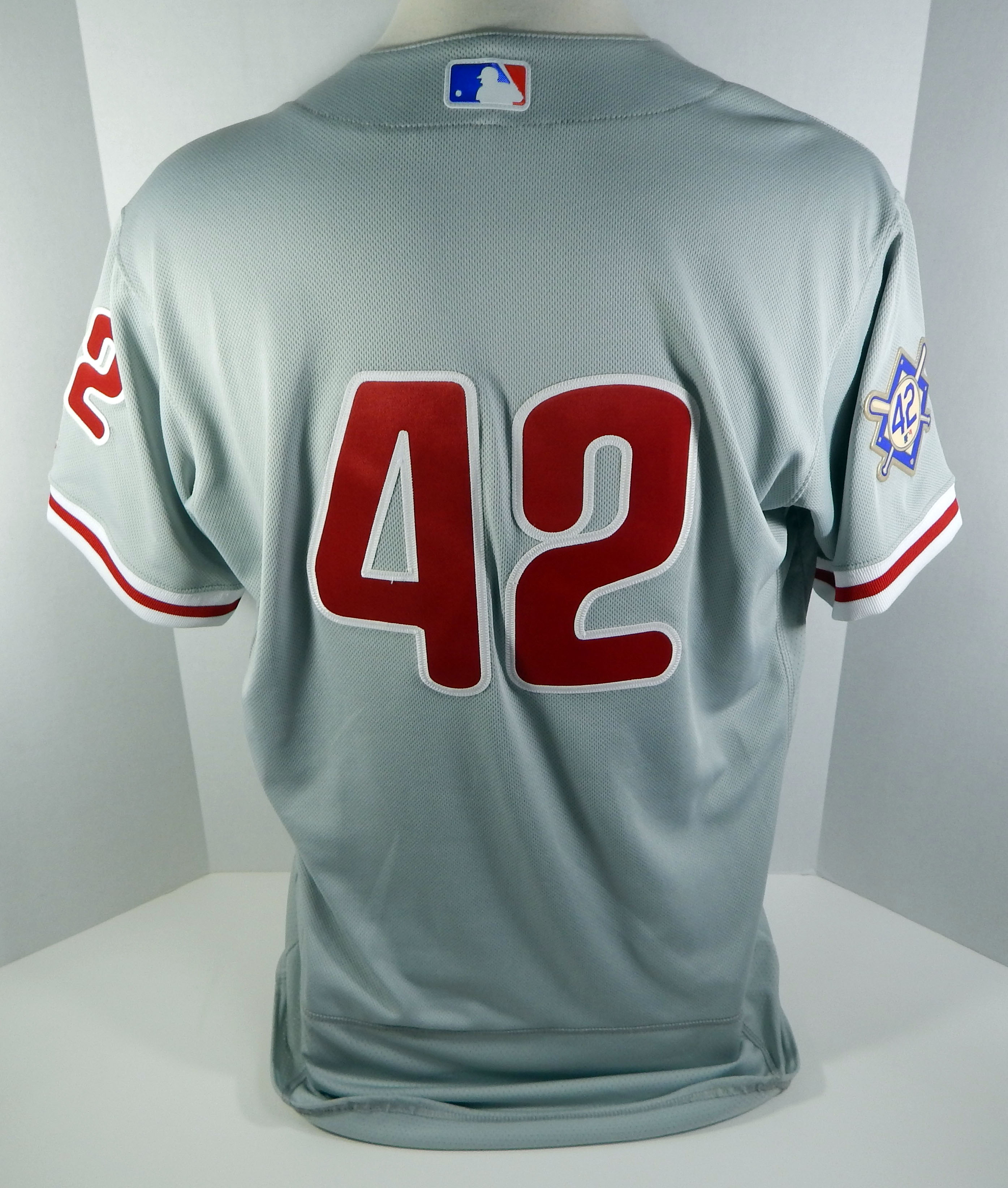 the latest 8d1d9 d1230 2018 Philadelphia Phillies Yacksel Rios  42 Game Used Grey J Robinson Jersey