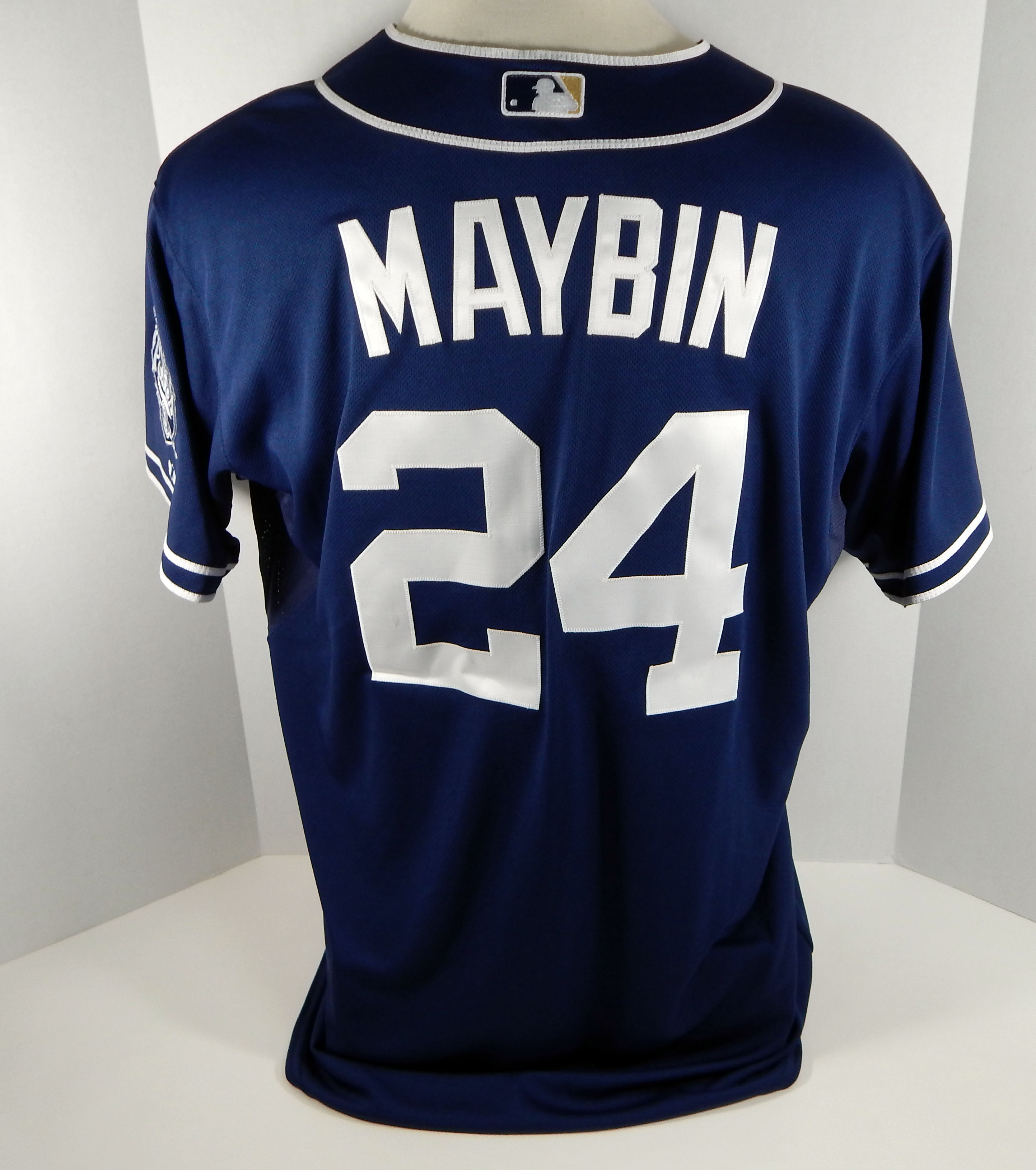 quality design 04551 848b0 Details about 2012 San Diego Padres Cameron Maybin #24 Game Issued Navy  Jersey