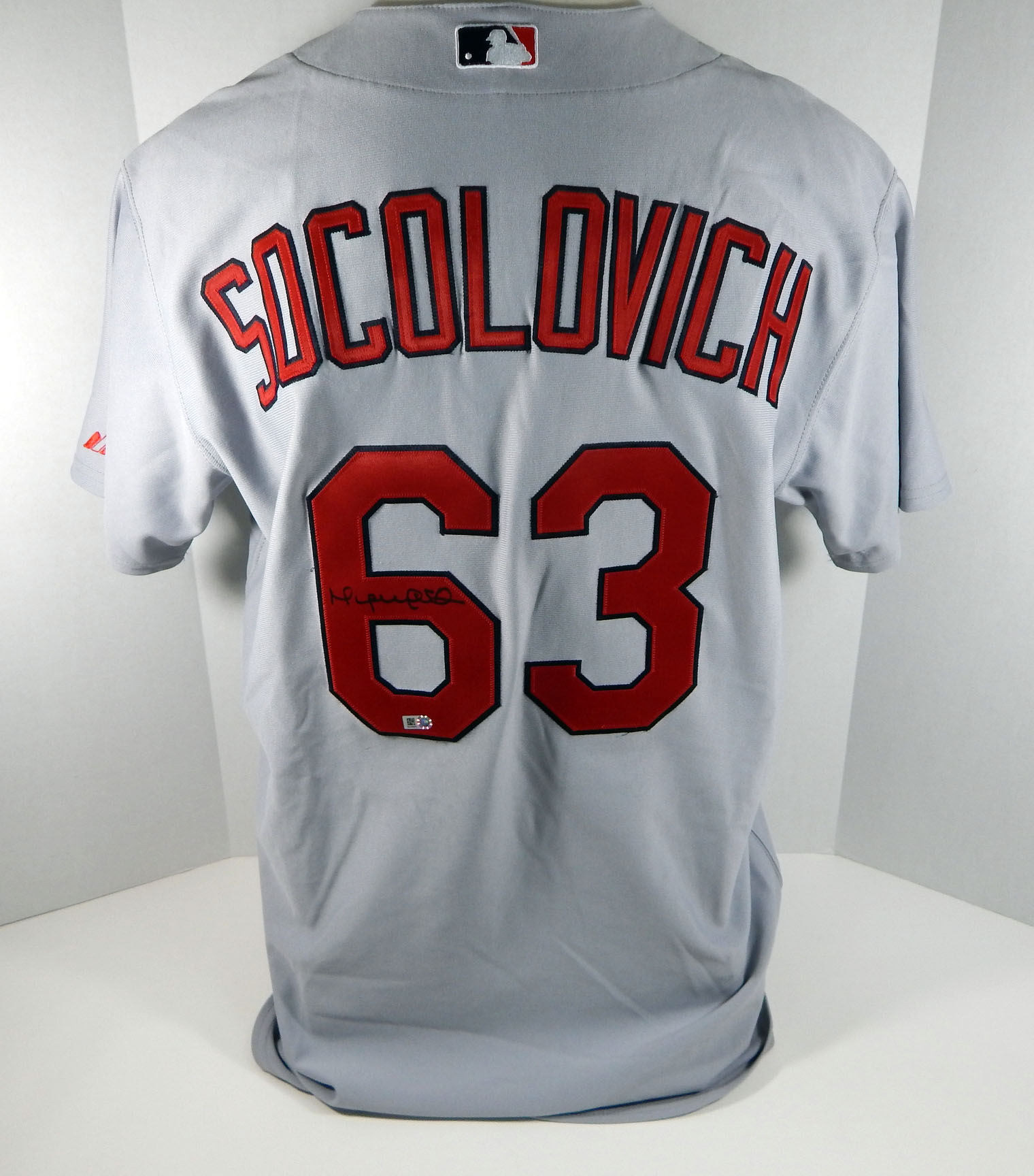 big sale 2e218 a59a4 Details about 2009 St. Louis Cardinals Miguel Socolovich #63 Game Issued  Signed Grey Jersey