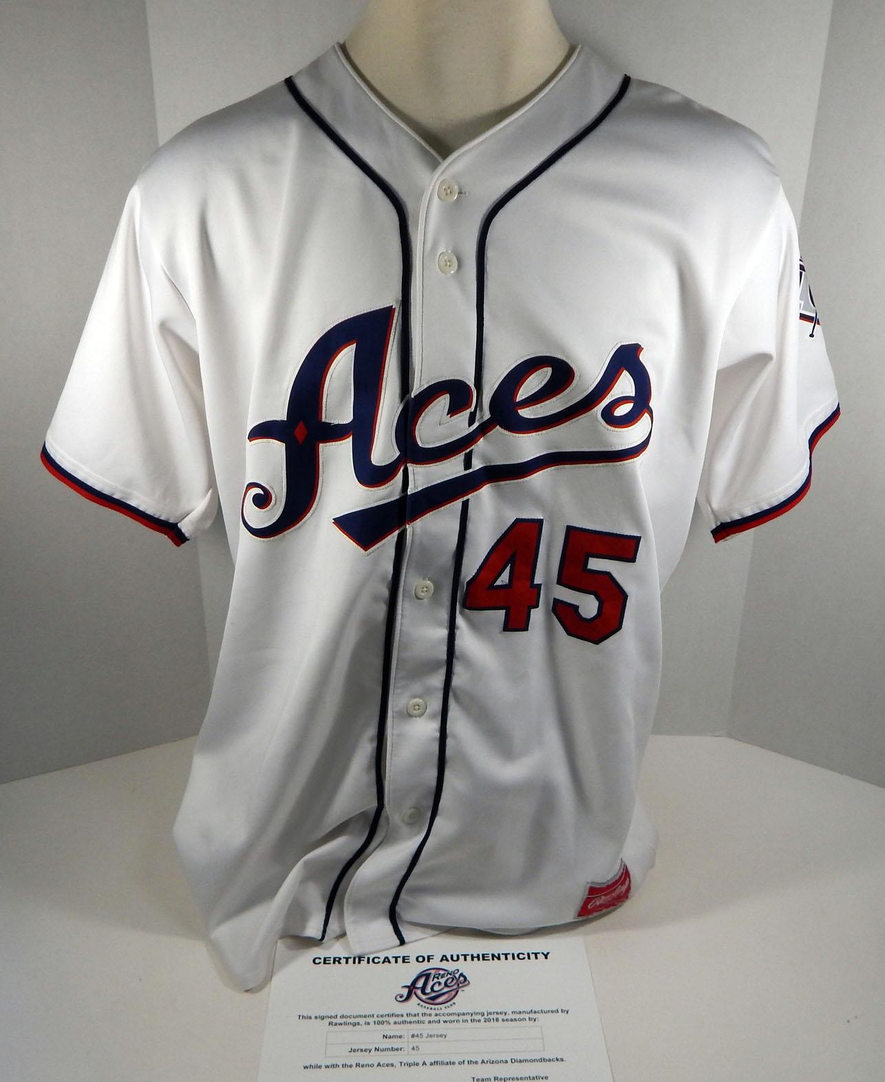 2018 Reno Aces Blake Lalli #45 Game Used White Jersey DP01392   eBay