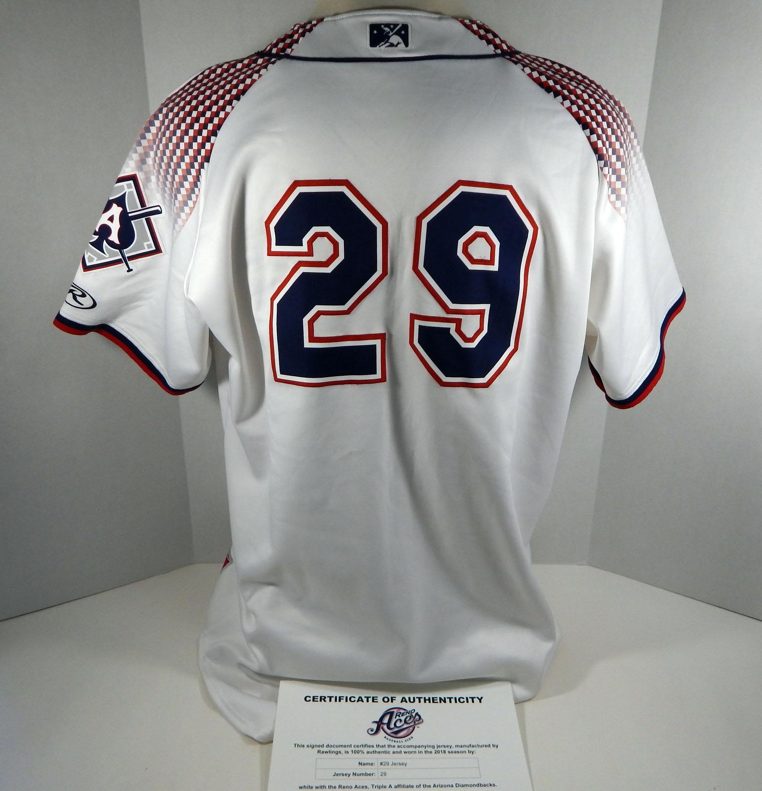 2018 Reno Aces #29 Game Used White Jersey DP01408 | eBay