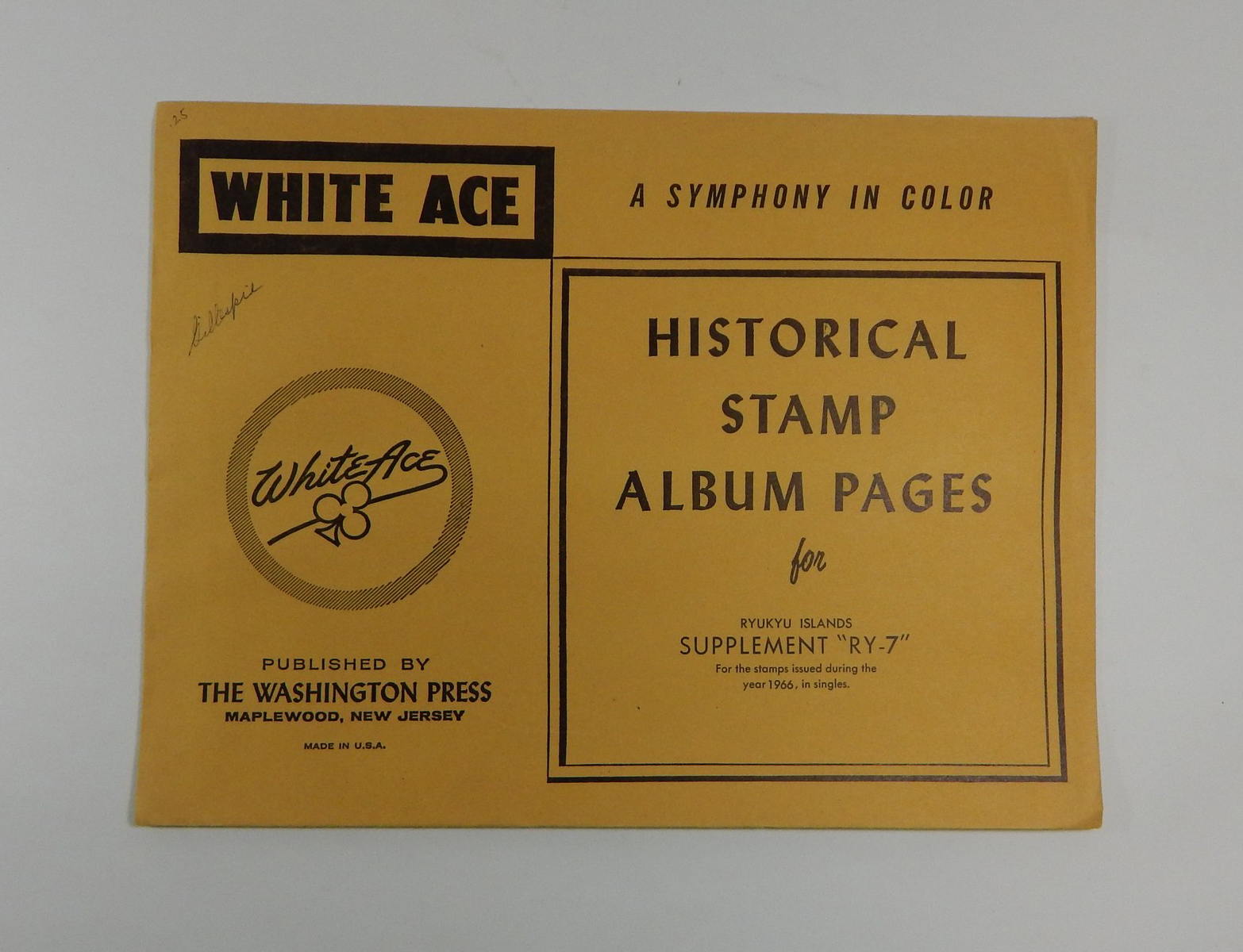 """White Ace Ryukyu Islands Supplement """"RY-7"""" 1966 Historical Stamp Album Pages"""
